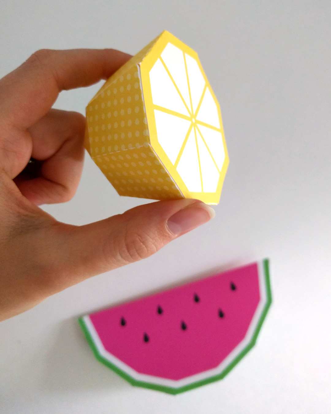 Papercraft lemon and watermelon