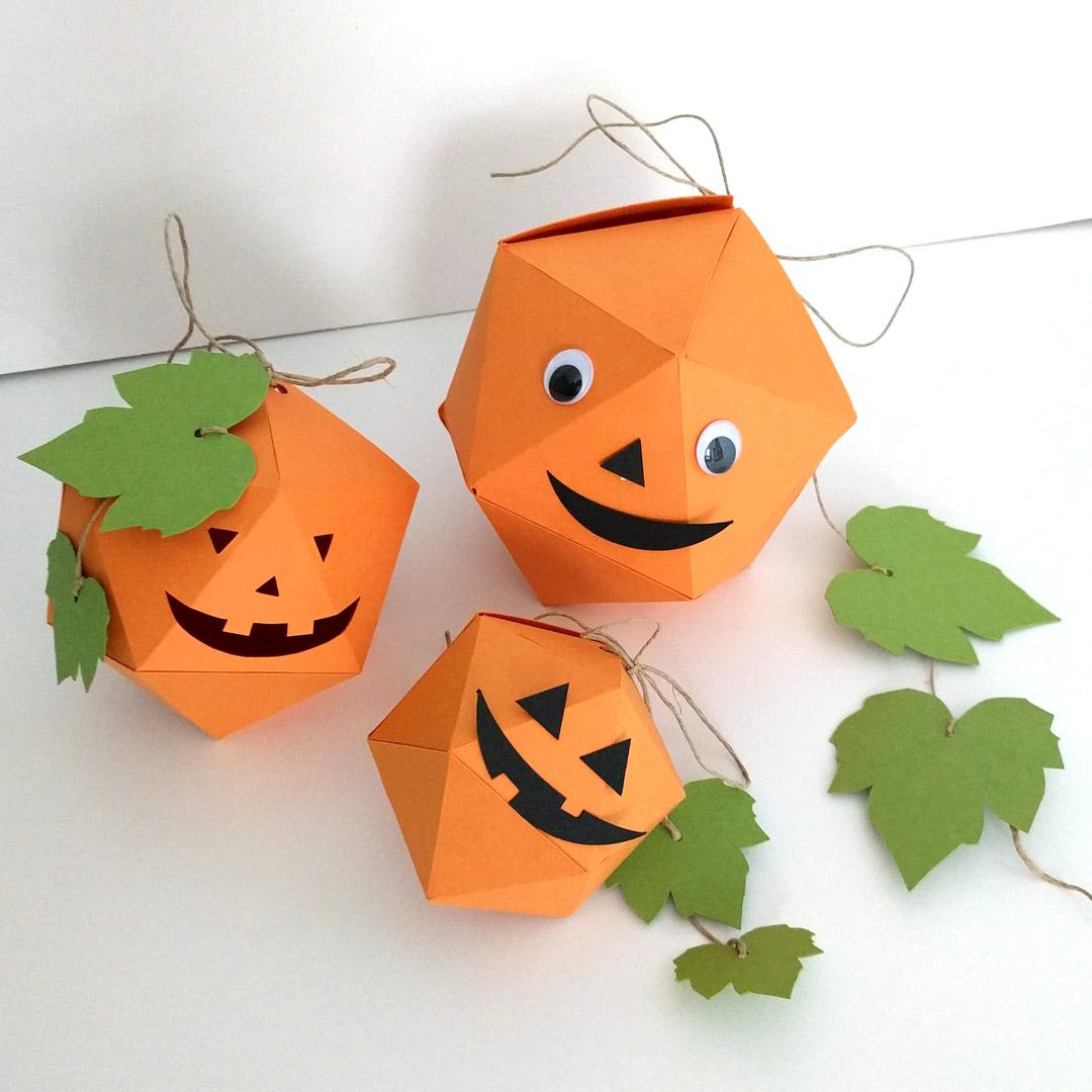 Decorated paper pumpkins