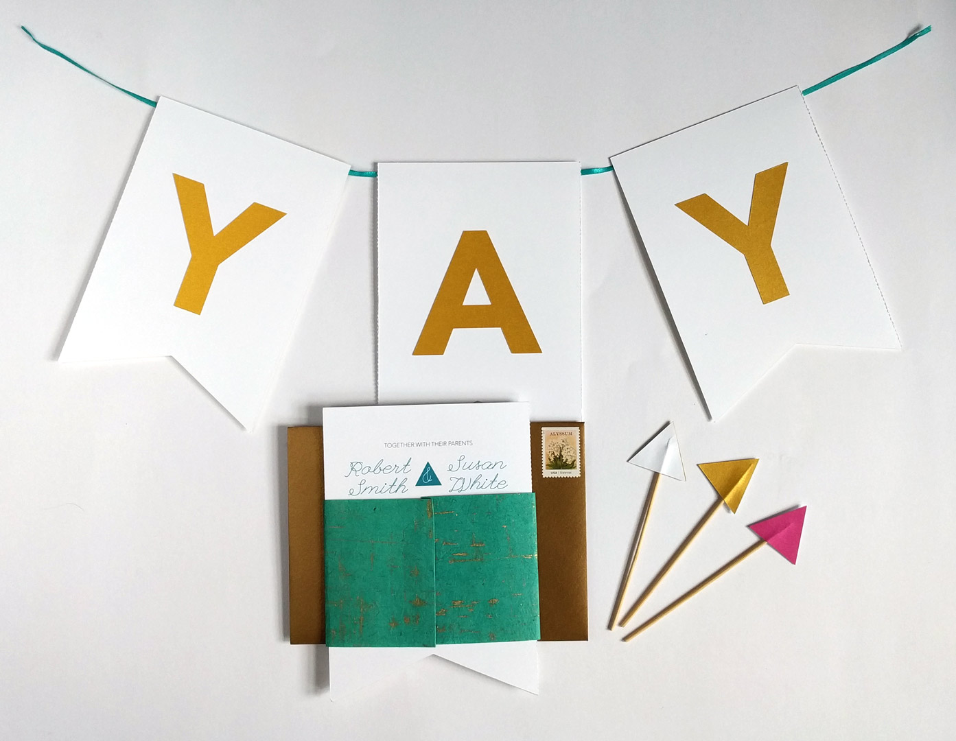 "Custom Wedding invitation, converts to decorative ""yay"" banner with shimmery gold paper"