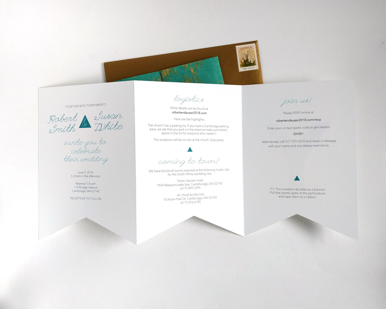 Custom wedding invitation, open