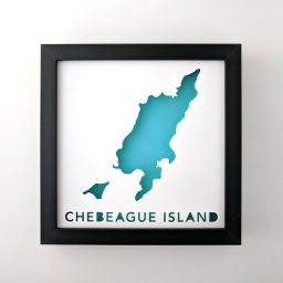 Framed 8x8 map of Chebeague Island, Maine with bright blue/teal background