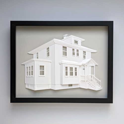 Completed house portrait on light gray background in black frame