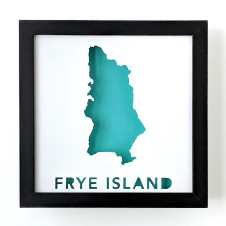 Framed map of Frye Island, Maine with a teal background