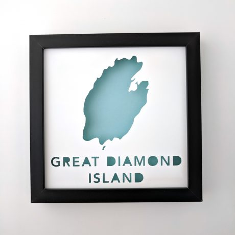 Framed 8x8 map of Great Diamond Island, Maine with a light blue background