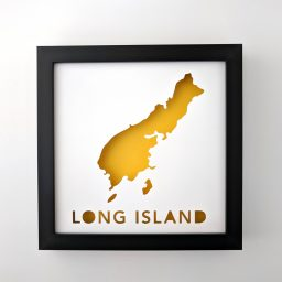 Framed map of Long Island, Maine with yellow background