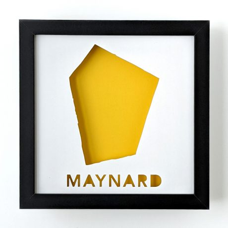 Framed map of Maynard, MA with yellow background