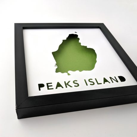 Angled view of framed map of Peaks Island, Maine