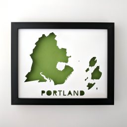 8x10 Map of Portland, Maine in black frame with green background
