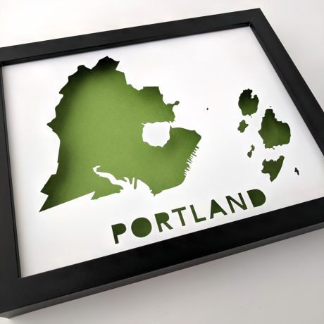 Framed map of Portland, Maine with green background