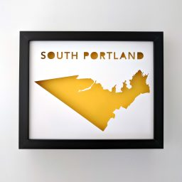 South Portland map with yellow background in black frame