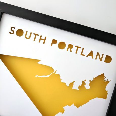 Closeup of South Portland map in black frame