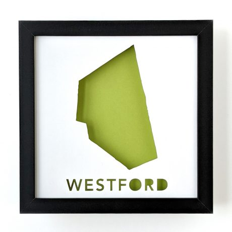 Framed map of Westford, MA with light green background
