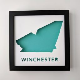 Framed cut paper map of Winchester, MA