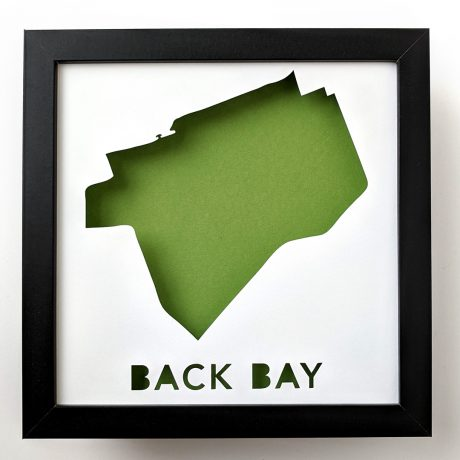 Back Bay, Boston, framed map art