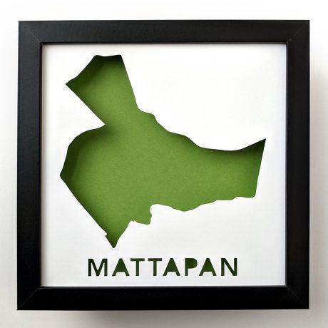 Framed map of Mattapan, MA