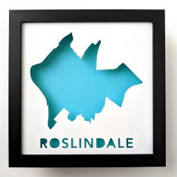 Framed map art of Roslindale, MA
